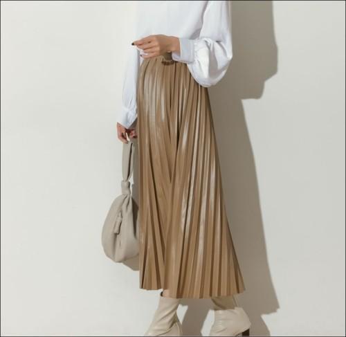 30代 40代 フェイクレザースカート GU並価格 ウエストゴム エコレザー